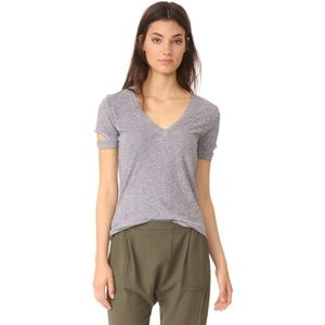 Lanston Heather Grey Slit Sleeve V-Neck Soft Tee M